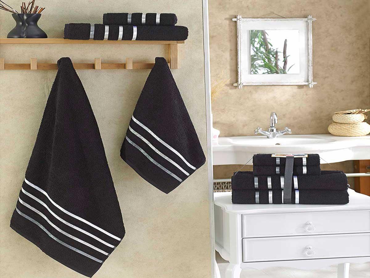 Комплект махровых полотенец «KARNA» BALE  (Черный) 50×80-70х140 см. (4 шт.) Состав 100% хлопок. Производство ТМ «Karna» (Карна), Турция