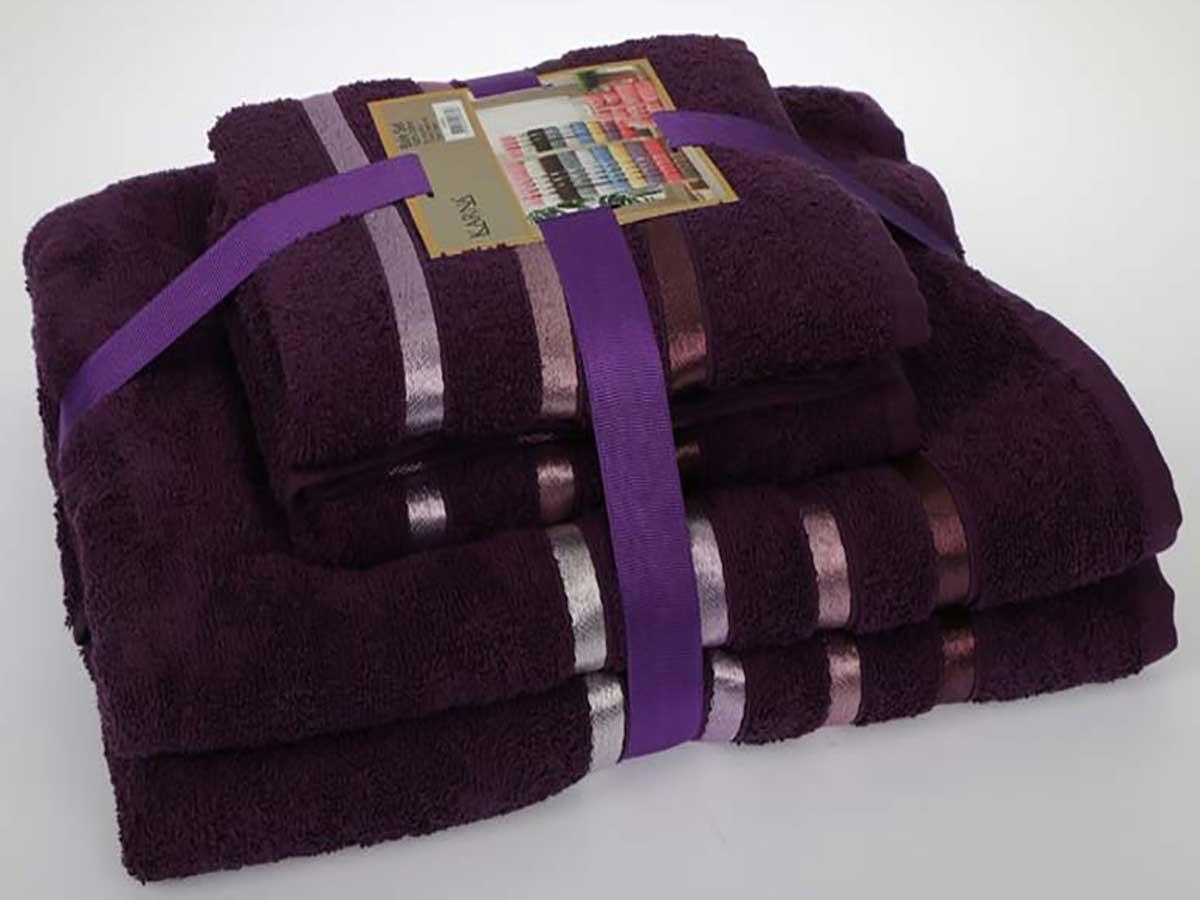 Комплект махровых полотенец «KARNA» BALE  (Фиолетовый) 50×80-70х140 см. (4 шт.) Состав 100% хлопок. Производство ТМ «Karna» (Карна), Турция