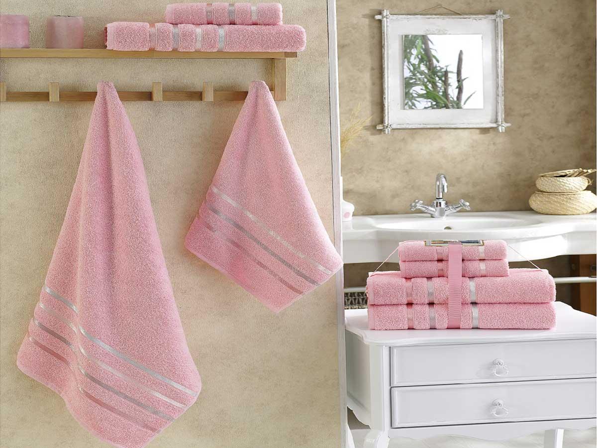 Комплект махровых полотенец «KARNA» BALE  (Розовый) 50×80-70х140 см. (4 шт.) Состав 100% хлопок. Производство ТМ «Karna» (Карна), Турция