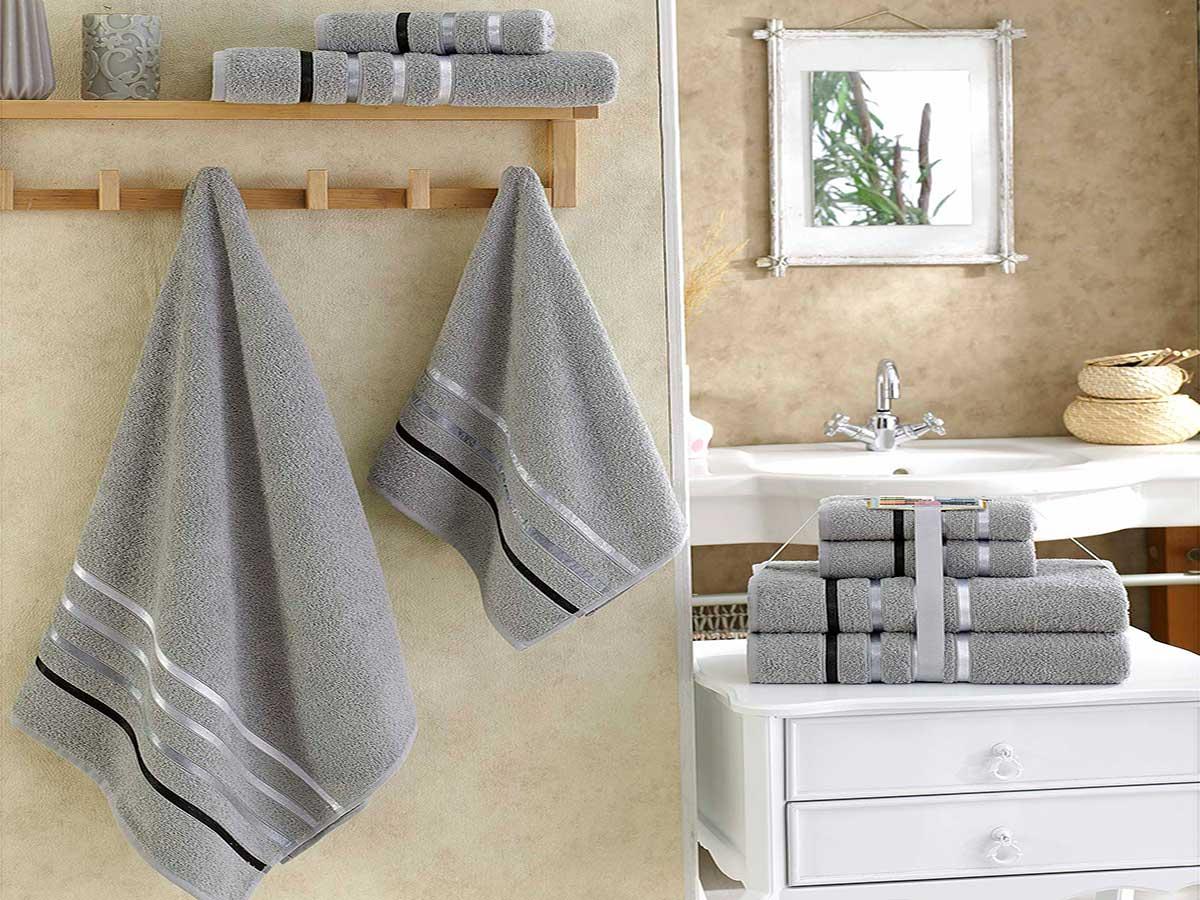Комплект махровых полотенец «KARNA» BALE  (Серый) 50×80-70х140 см. (4 шт.) Состав 100% хлопок. Производство ТМ «Karna» (Карна), Турция