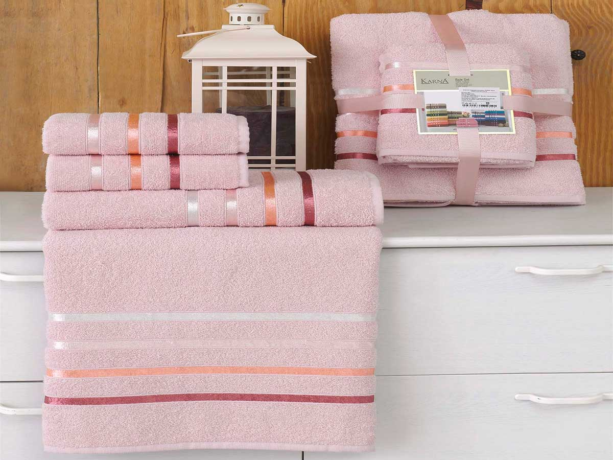 Комплект махровых полотенец «KARNA» BALE  (Светло-Розовый) 50×80-70х140 см. (4 шт.) Состав 100% хлопок. Производство ТМ «Karna» (Карна), Турция