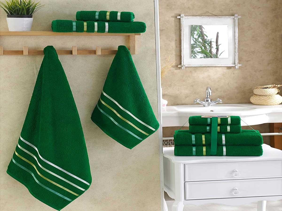 Комплект махровых полотенец «KARNA» BALE  (Темно-Зеленый) 50×80-70х140 см. (4 шт.) Состав 100% хлопок. Производство ТМ «Karna» (Карна), Турция