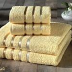 Комплект махровых полотенец «KARNA» BALE  (Желтый) 50×80-70х140 см. (4 шт.) Состав 100% хлопок. Производство ТМ «Karna» (Карна), Турция