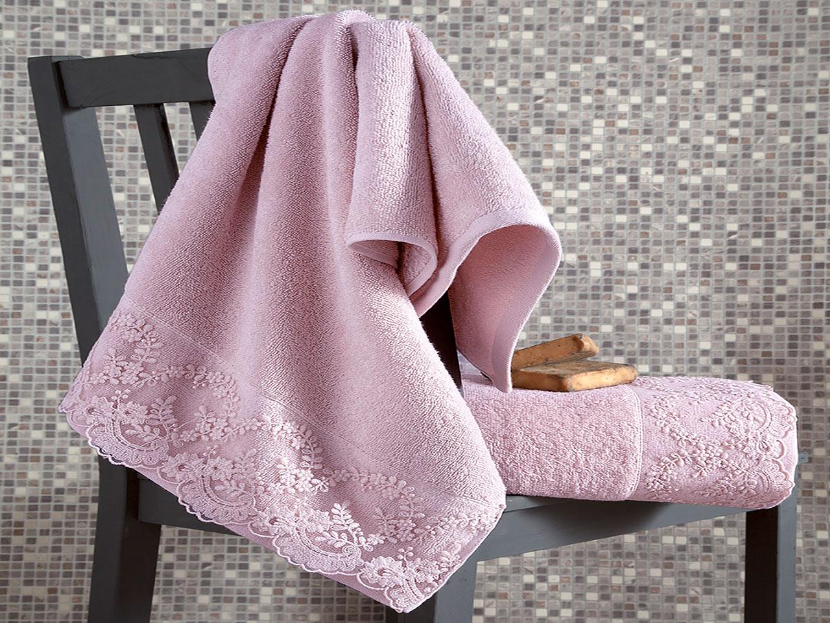 Комплект махровых полотенец «KARNA» с гипюром ELINDA (Пудра) 50×90-70х140 см. Состав 100% хлопок. Производство ТМ «Karna» (Карна), Турция