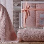 Комплект махровых полотенец «KARNA» ESRA (Абрикосовый) 50×90-70х140 см. Состав 100% хлопок. Производство ТМ «Karna» (Карна), Турция