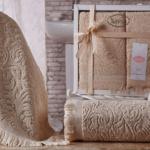 Комплект махровых полотенец «KARNA» ESRA (Бежевый) 50×90-70х140 см. Состав 100% хлопок. Производство ТМ «Karna» (Карна), Турция