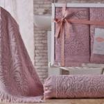 Комплект махровых полотенец «KARNA» ESRA (Грязно-Розовый) 50×90-70х140 см. Состав 100% хлопок. Производство ТМ «Karna» (Карна), Турция