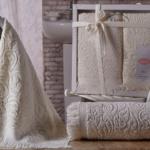 Комплект махровых полотенец «KARNA» ESRA (Кремовый) 50×90-70х140 см. Состав 100% хлопок. Производство ТМ «Karna» (Карна), Турция