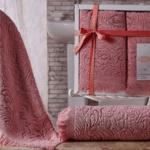Комплект махровых полотенец «KARNA» ESRA (Розовый) 50×90-70х140 см. Состав 100% хлопок. Производство ТМ «Karna» (Карна), Турция