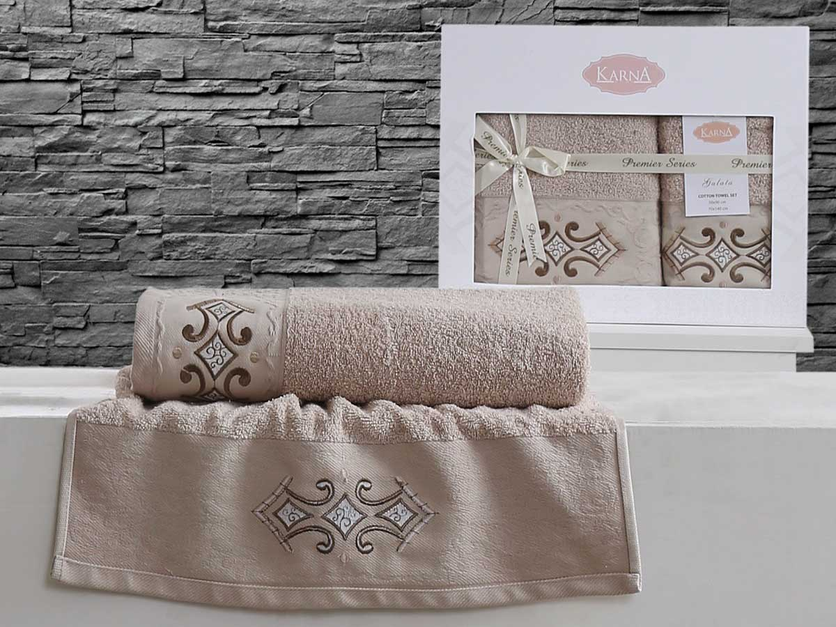 Комплект махровых полотенец «KARNA» GALATA (Бежевый) 50×90-70х140 см. Состав 100% хлопок. Производство ТМ «Karna» (Карна), Турция