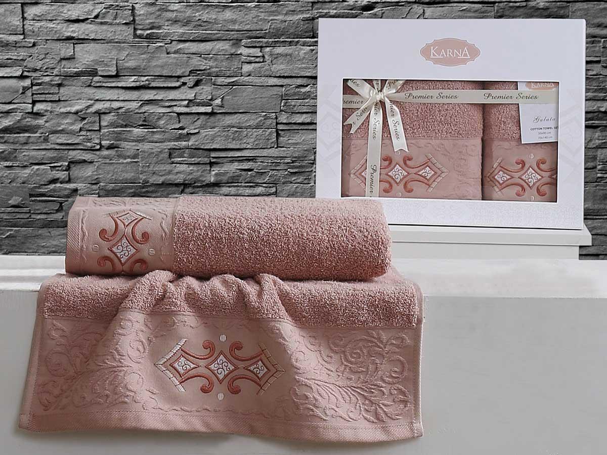 Комплект махровых полотенец «KARNA» GALATA (Грязно-Розовый) 50×90-70х140 см. Состав 100% хлопок. Производство ТМ «Karna» (Карна), Турция