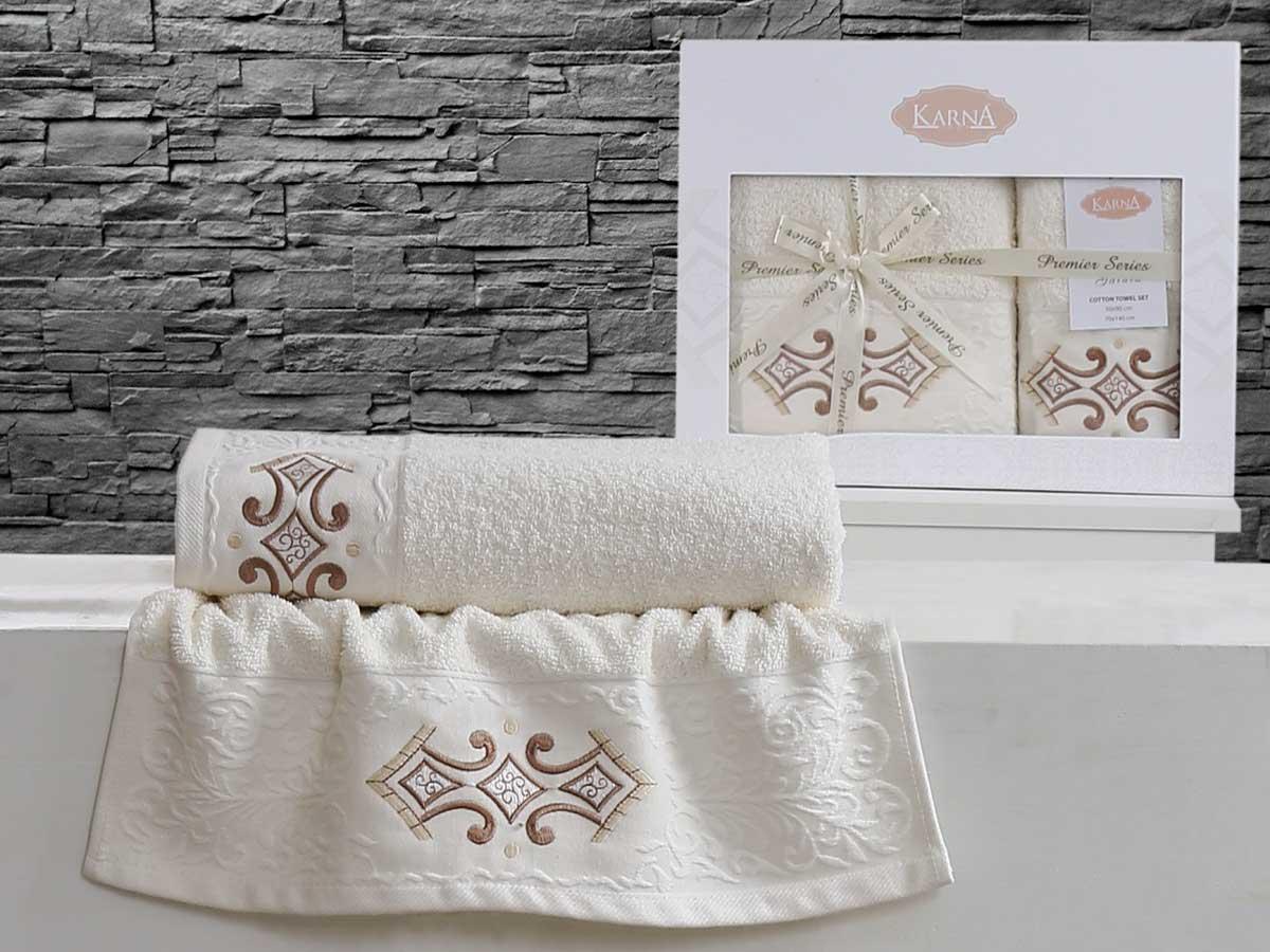 Комплект махровых полотенец «KARNA» GALATA (Кремовый) 50×90-70х140 см. Состав 100% хлопок. Производство ТМ «Karna» (Карна), Турция