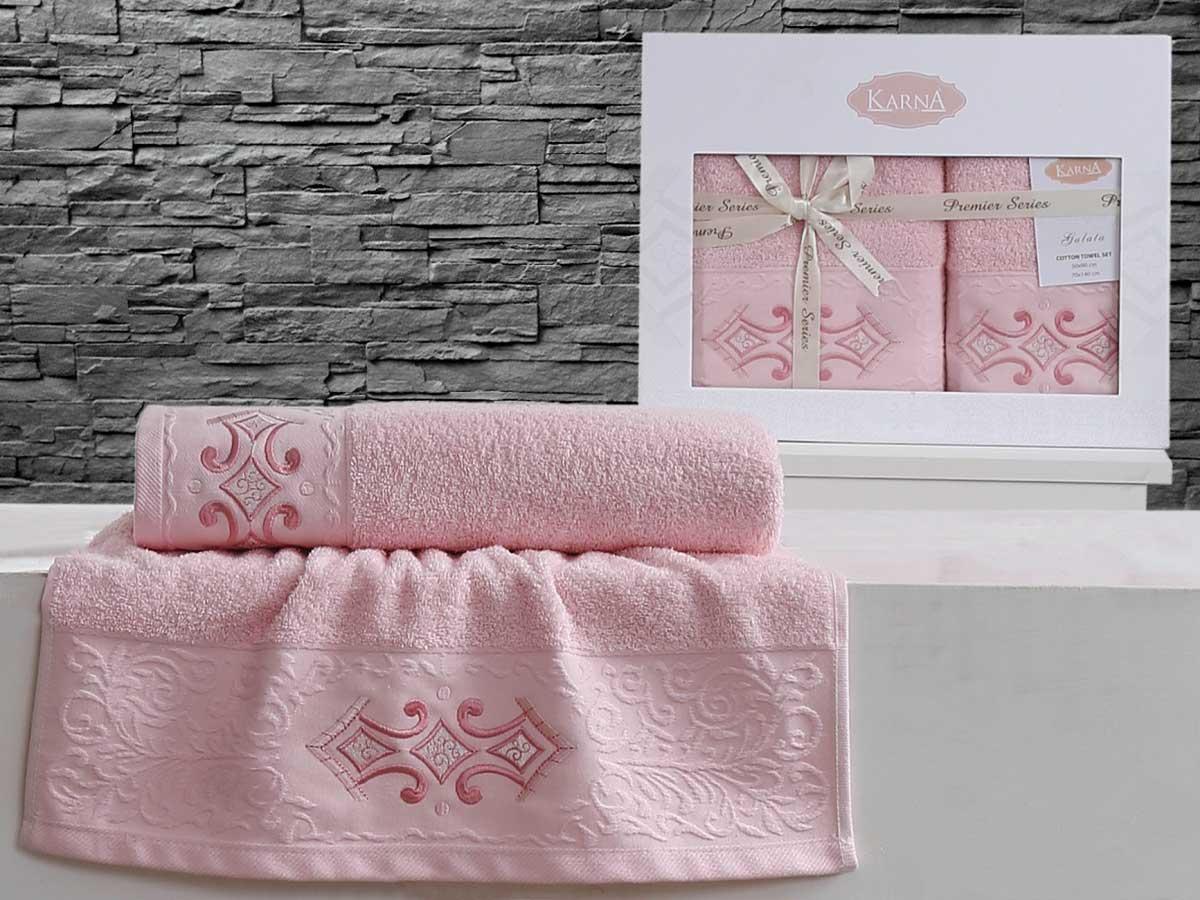 Комплект махровых полотенец «KARNA» GALATA (Розовый) 50×90-70х140 см. Состав 100% хлопок. Производство ТМ «Karna» (Карна), Турция