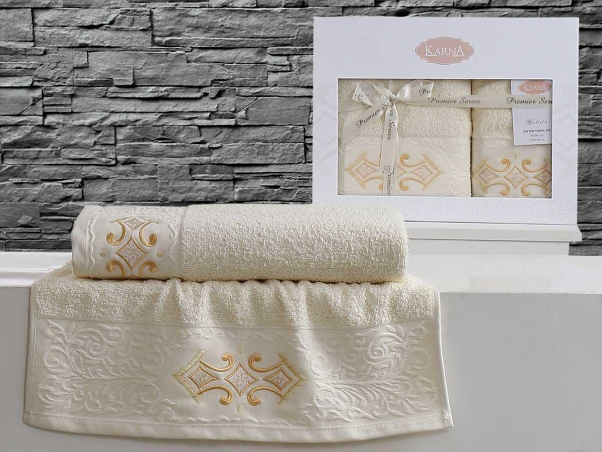 Комплект махровых полотенец «KARNA» GALATA (Светло-Желтый) 50×90-70х140 см. Состав 100% хлопок. Производство ТМ «Karna» (Карна), Турция