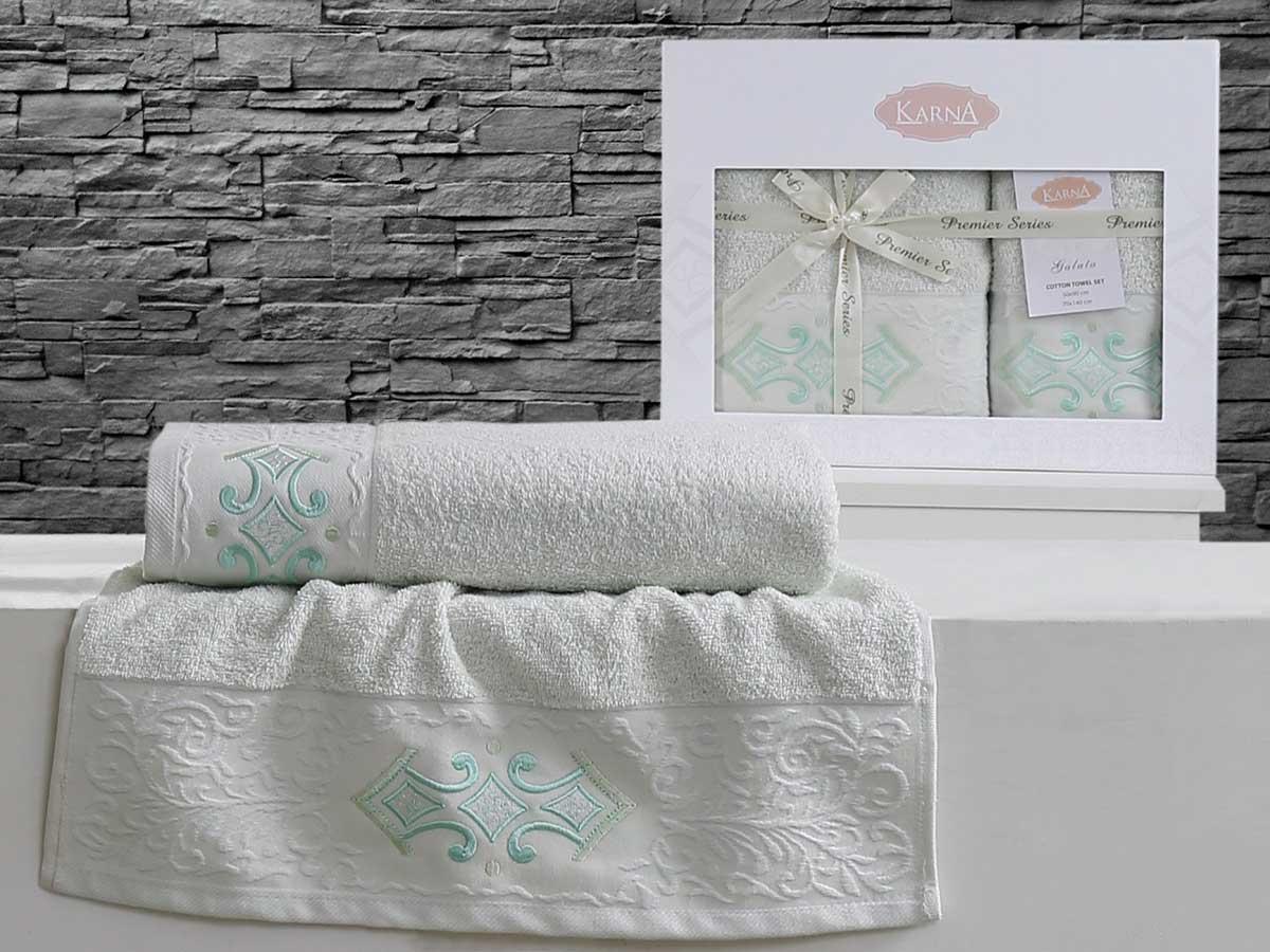Комплект махровых полотенец «KARNA» GALATA (Светло-Зеленый) 50×90-70х140 см. Состав 100% хлопок. Производство ТМ «Karna» (Карна), Турция