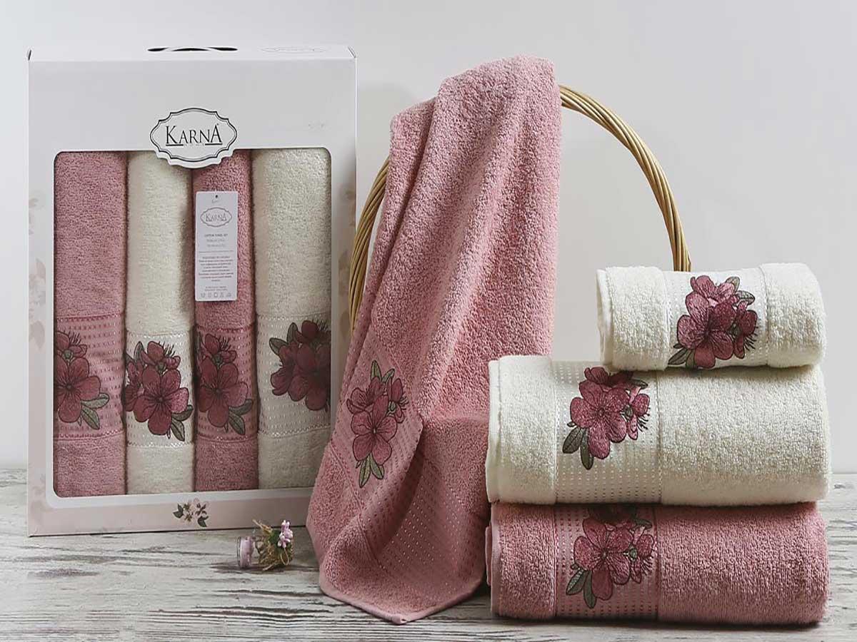 Комплект махровых полотенец «KARNA» ORKID (Розовый) 50×90-70х140 см. (4 шт.) Состав 100% хлопок. Производство ТМ «Karna» (Карна), Турция