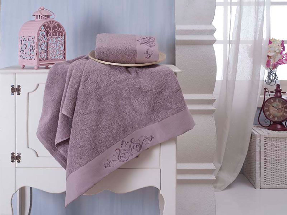 Комплект махровых полотенец «KARNA» VELSEN (Фиолетовый) 50×90-70х140 см. Состав 100% хлопок. Производство ТМ «Karna» (Карна), Турция