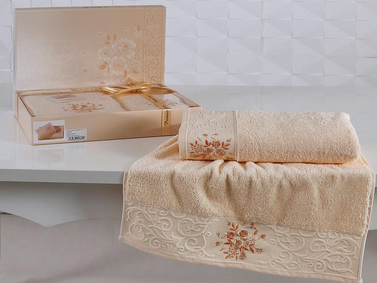 Комплект махровых полотенец «KARNA» VIOLA (Абрикосовый) 50×90-70х140 см. Состав 100% хлопок. Производство ТМ «Karna» (Карна), Турция