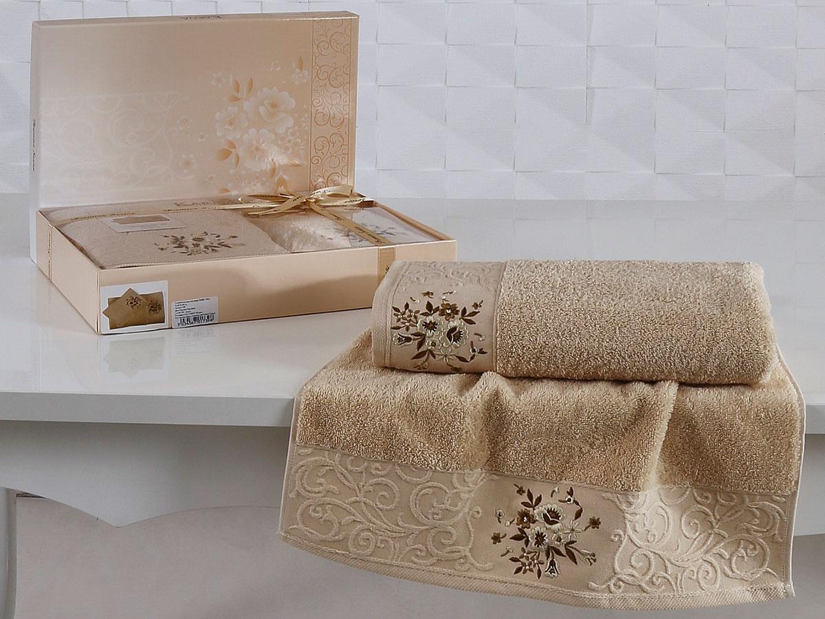 Комплект махровых полотенец «KARNA» VIOLA (Капучино) 50×90-70х140 см. Состав 100% хлопок. Производство ТМ «Karna» (Карна), Турция