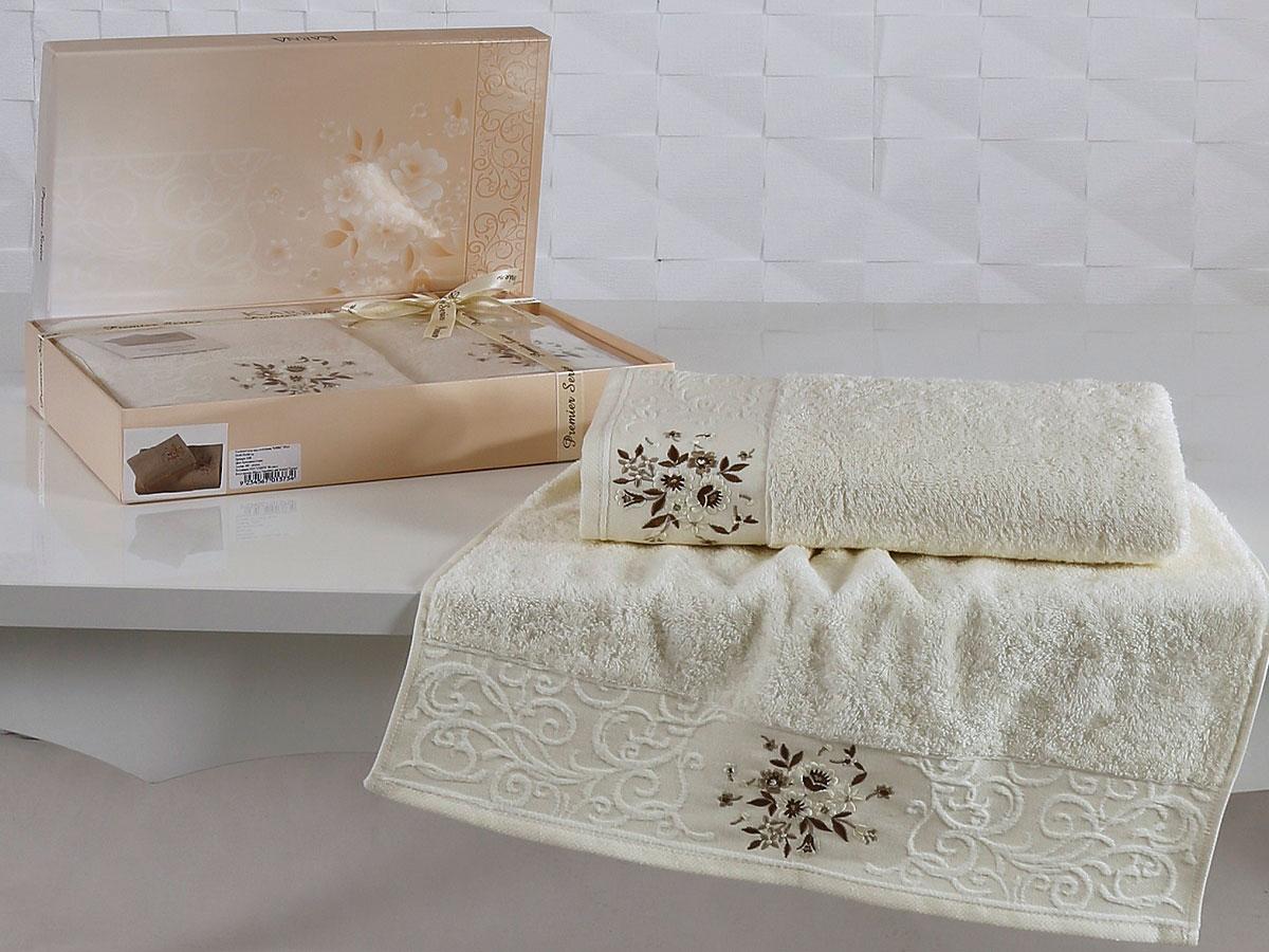 Комплект махровых полотенец «KARNA» VIOLA (Кремовый) 50×90-70х140 см. Состав 100% хлопок. Производство ТМ «Karna» (Карна), Турция