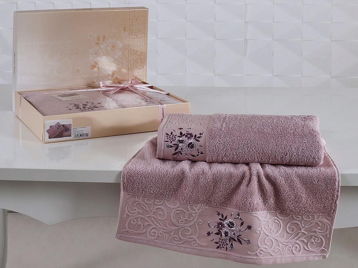 Комплект махровых полотенец «KARNA» VIOLA (Светло-Сиреневый) 50×90-70х140 см. Состав 100% хлопок. Производство ТМ «Karna» (Карна), Турция