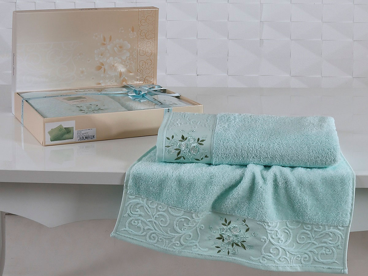 Комплект махровых полотенец «KARNA» VIOLA (Светло-Зеленый) 50×90-70х140 см. Состав 100% хлопок. Производство ТМ «Karna» (Карна), Турция