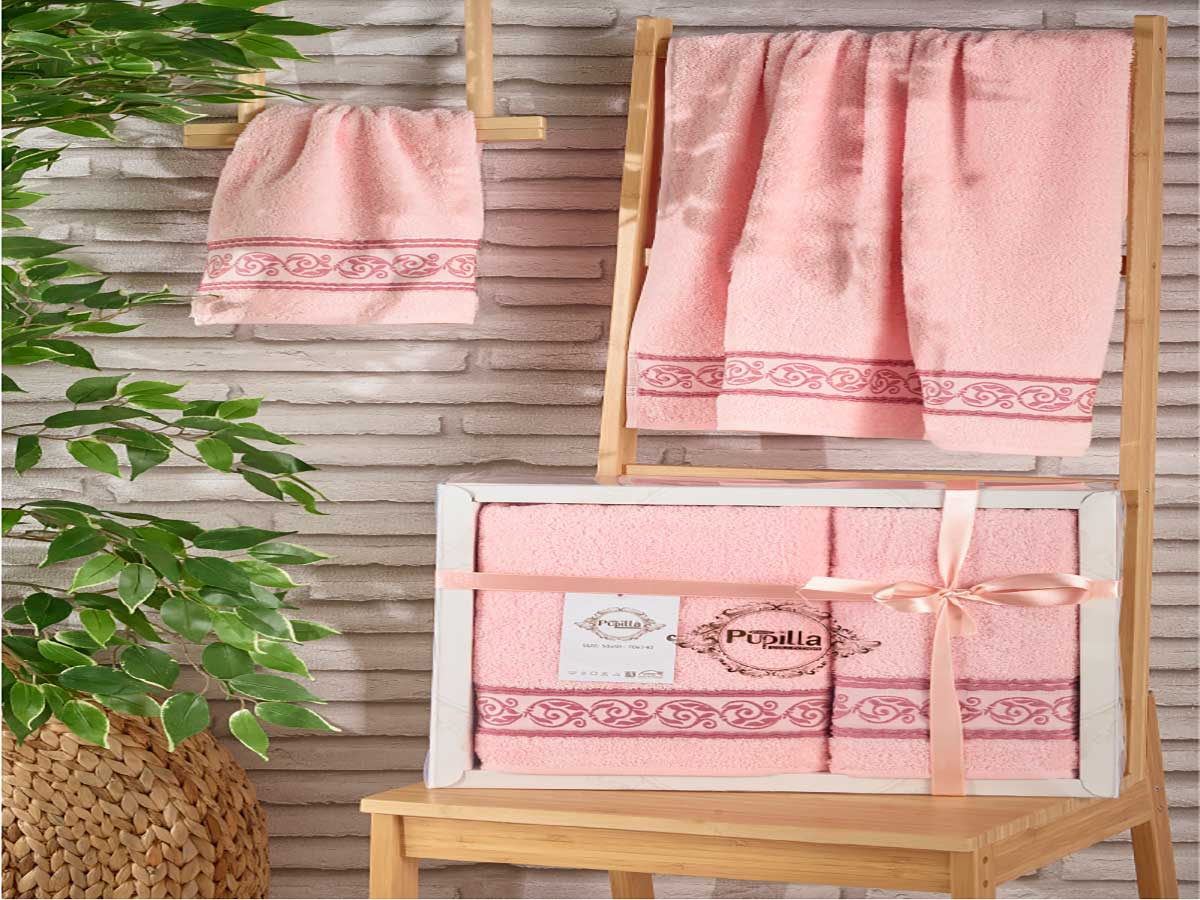 Комплект махровых полотенец «PUPILA» жаккард «DREAM» (Светло-Розовый) 50×90-70х140 см. Состав 100% хлопок. Производство ТМ «PUPILLA», Турция
