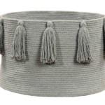 Корзина с кистями серая-1 Хлопковая декоративная корзина 100 хлопок. Lorena Canals , Испания