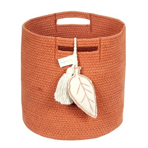 Корзина с листом терракотовая-1 Хлопковая декоративная корзина 100 хлопок. Lorena Canals , Испания
