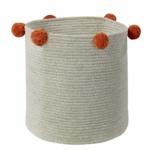 Корзина с терракотовыми помпонами бежевая-1 Хлопковая декоративная корзина 100 хлопок. Lorena Canals , Испания
