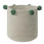 Корзина с зелеными помпонами бежевая-1 Хлопковая декоративная корзина 100 хлопок. Lorena Canals , Испания