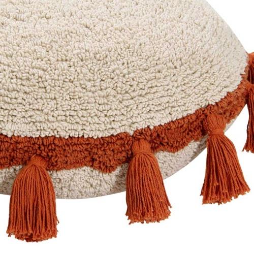 Подушка детская декоративная Бежевая с терракотовыми кисточками. 100 хлопок. Lorena Canals, Испания
