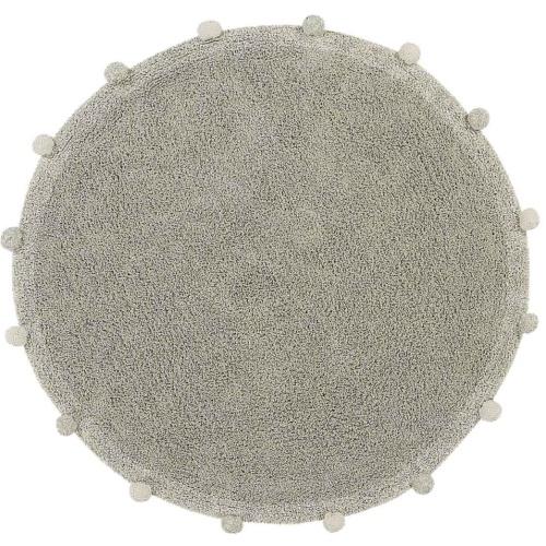 Ковер-с-помпонами-оливковый Детский стираемый ковер. Состав 100% хлопок. Производитель ТМ «Lorena Canals», Испания