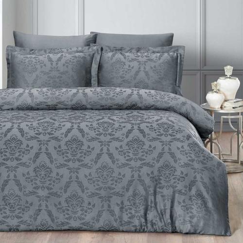 Постельное белье бамбук KARNA BENOIT (Aнтрацит). Комплект постельного белья бамбук-хлопок. Состав 30% бамбук, 70% хлопок. Ткань Бамбук-Жаккард. Постельное белье Karna (Карна), Турция