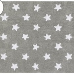 Детский стираемый ковер в горошек «Stars» серый c белым. Состав 100% хлопок. Производитель ТМ «Lorena Canals» , Испания