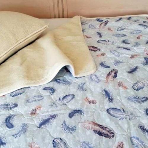 Одеяло Меринос ЛоконХлопок Перышки. Шерстяное тканое одеяло. 100% открытая шерсть мериноса. ТМ Magicwool (Монарх), Россия