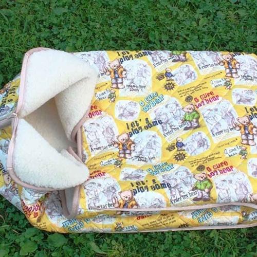 Детский шерстяной конверт-одеяло «Мишки желтыеМеринос Локон». Состав 100% шерсть мериноса. ТМ «MagiсWool», Россия