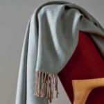 «COSY celadon» шерстяной плед с кистями. Плед 100% шерсть мериноса. ТМ «Blanc des Vosge», Франция