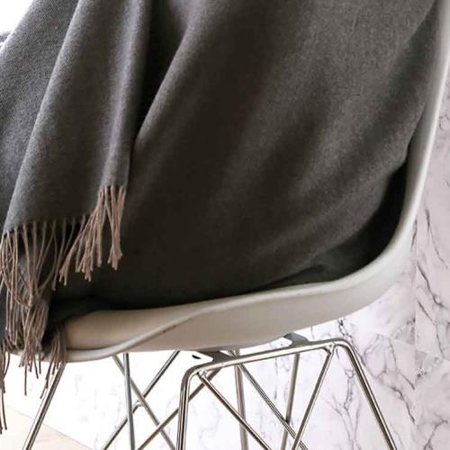 «KATMANDOU ANTHRACITE» шерстяной плед с кистями. Плед 100% шерсть мериноса. ТМ «Blanc des Vosge», Франция