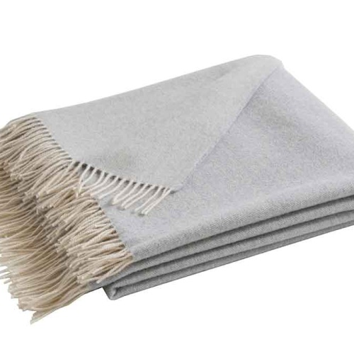 «KATMANDOU PERLE» шерстяной плед с кистями. Плед 100% шерсть мериноса. ТМ «Blanc des Vosge», Франция