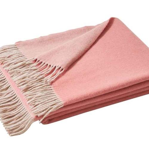 «KATMANDOU ROSE» шерстяной плед с кистями. Плед 100% шерсть мериноса. ТМ «Blanc des Vosge», Франция